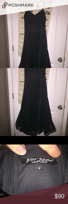 Betsey Johnson Black Lace dress Used for my prom- black lace Betsy Johnson dress in immaculate condition. It is form fitting through the busy and torso and flared out. It's mid knee length. Various layers of different patterned black lace Betsey Johnson Dresses Prom