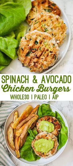 These spinach avocado chicken burgers are the ultimate healthy burger. They're packed with healthy fats, protein, and even hidden veggies. Make them on a weeknight, or serve them at a backyard cookout. #chickenburgers #summerrecipes #healthydinnerrecipes