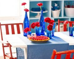 Try one or more of these festive tabletop and home decorating projects to show your patriotic colors for July 4 or other holidays.