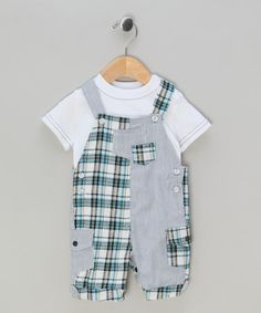 White & Blue Tee & Dungarees Set by Cutey Couture