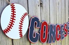 Baseball Concessions Banner - Baseball Birthday Banner - Baseball Baby Shower - Baseball Happy Birthday Banner by SparklingConfetti on Etsy https://www.etsy.com/listing/242650795/baseball-concessions-banner-baseball