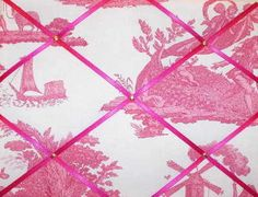 Medium Laura Ashley Pink Toile Hand Crafted Fabric Notice / Pin / Memo Board