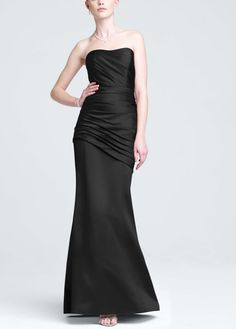Long Strapless Satin Dress with Side Ruching - David's Bridal- mobile
