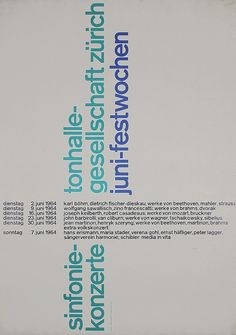1960s MULLER-BROCKMANN Swiss Design Poster Typogra - by PosterConnection Inc.