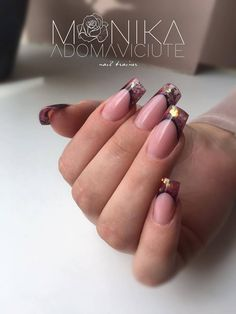 Amazing Nude Nails With Cute Sparkling Tip