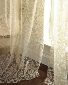 Dian Austin Couture Home Olivia Damask-Print Curtains from Horchow. Saved to Curtains and Drapes. Damask Curtains, Damask Decor, Printed Curtains, Sheer Curtains, Ikea Curtains, Window Curtains, Contemporary Curtains, Modern Curtains, Drapery Panels