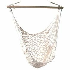 """Relax with your favorite novel and a glass of iced tea in this hanging hammock chair, crafted from upcycled cotton rope.   Product: Hammock chairConstruction Material: Upcycled cotton rope and woodColor: WhiteFeatures: Weight capacity of 200 lbsHardware includedDimensions: 46"""" H x 39.25"""" W x 39.25"""" D"""