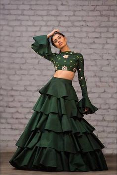 New Lehenga Colour Bored of seeing the same old lehenga colors? Check out these 2 New Lehenga Colours that are amazing. New Lehenga, Indian Lehenga, Green Lehenga, Indian Wedding Outfits, Indian Outfits, Stylish Dresses, Fashion Dresses, Bollywood, Indian Gowns Dresses