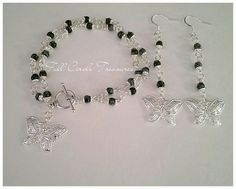 "Handmade Snowflake obsidian bracelet and earrings, silver butterflies, metaphysical 7 1/2"" Snowflake obsidian bracelet & 3"" dangle earrings by FullCircleTreasures on Etsy"