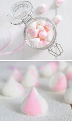 Two-tone Vanilla Strawberry Mini Marshmallows | Click Pic for 22 DIY Gift Basket Ideas for Christmas | Handmade Gift Ideas for Christmas for Friends