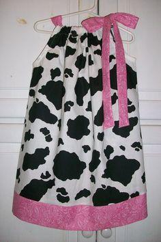Pillowcase Dress COW and BANDANA Pink Accent Print