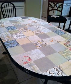 Modpodge Fabric On Kitchen Table