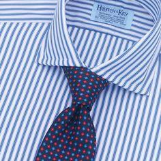 Prince Cutaway Collar, Double Cuff. Blue Edged Stripe - Bespoke Shirts, Cutaway Collar, Prince, Menswear, Top, Blue, Fashion, Guys, Men Styles