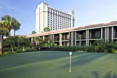 Located on the DoubleTree Orlando at SeaWorld property we offer a wide range of activities including; our putting green located by the Serenity pool, surrounded by lush tropical landscaping this putting green makes for a relaxing practice in the sun. Orlando Florida, Hotel Orlando, Visit Orlando, International Drive, Tropical Landscaping, Top Hotels, Sea World, Cool Things To Buy, Fun Things