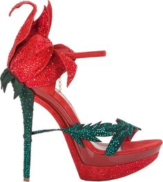 Loriblu Red & Green Glitter Rose Sandal Shoes. I would never wear it, but I want it in any future shoe collection!