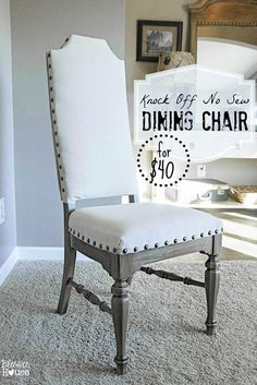 DIY Furniture Store KnockOffs - Do It Yourself Furniture Projects Inspired by Pottery Barn, Restoration Hardware, West Elm. Tutorials and Step by Step Instructions  |   Knock Off No Sew Dining Chairs  |   http://diyjoy.com/diy-furniture-store-knockoffs