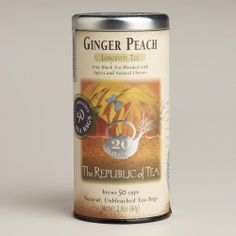 One of my favorite discoveries at WorldMarket.com: The Republic of Tea Ginger Peach Black Tea, 50 Count Tin