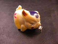 Vintage Celluloid PIG TAPE MEASURE Sewing Notion Flowers Winking Eye