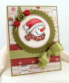 Snowman Greetings by Debbie Olson, like lay out/paper colors/buttons