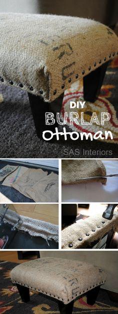 40 Easy DIY Ottoman Ideas You Can Make on a Budget - Make an easy #DIY ottoman using burlap coffee sack. Neat idea! #homedecor