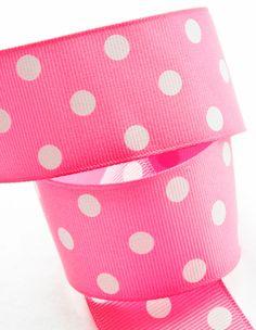 Bubblegum Pink White Polka Dots Grosgrain Ribbon