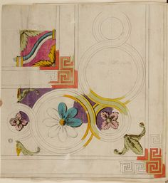 Alternative preliminary designs, design, and working drawings for a carpet for the great room, c1767