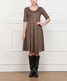 Love this Brown Abstract A-Line Dress on #zulily! #zulilyfinds