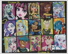 Free Monster High cross stitch pattern. Separate floss list (over 200 colors)