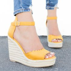 fd98bc53eef2 Chic Scalloped Espadrille Wedges Delicious Shoes Herald-S – Shoetopia Suede  Material, Ankle Straps