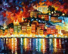 Leonid Afremov Inviting Harbor oil painting reproductions for sale