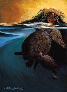 """Kauila"" by Herb Kane Hawaiian Mythology, Hawaiian Goddess, Hawaiian Legends, Hawaiian Art, Polynesian Art, Polynesian Designs, Cute Wallpaper Backgrounds, Wallpapers, Surf Art"