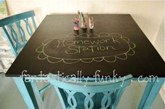 blue color for chalkboard coffee table Homework Table, Chalkboard Table, Home Goods Decor, Home Decor, Chalk Paint Projects, Chalk It Up, Little Girl Rooms, Kid Spaces, Diy Design