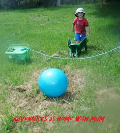 Obstacle course: wheel barrow to skipping rope, jump over, jumping jack to row of cones, weeve in+out of cones, walk over balance beam, jump between sticks (no touching), crawl through tunnel, find 10 scattered balls, shoot these into a basket, collect basket and run to the finish. Great ideas!
