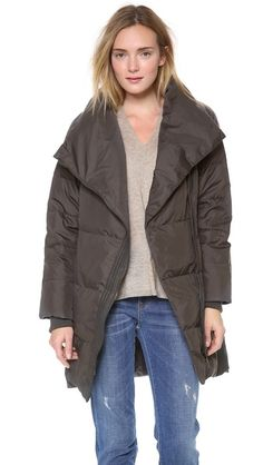 Vince Leather Trimmed Asymmetric Puffer | finally, a chic puffer coat