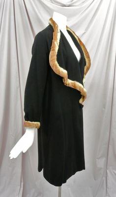 1920's Black Wool Flapper Coat Huge Draped Collar,Mink Trim,Scalloped Cape. Sideway