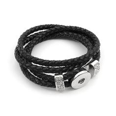 Snap! Leather/Metal Base for Snap Bracelet 41cm Black Nickel 1pc Off Price Policy - 4005-0400-003BLK - Club Bead Plus
