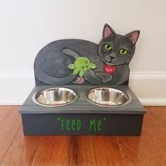 Simple Projects, Cat Feeder, Wood Animal, Table Lamp Wood, Cat Memorial, Tree Toppers, Cat Food, Dog Bowls, Kawaii