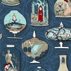 Fairytale Terrariums (in Ink) fabric by nouveau_bohemian on Spoonflower - custom fabric