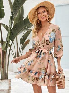 Layered Hem Belted Wrap Floral A-line Dress Stylish Dresses, Cute Dresses, Short Dresses, Fashion Dresses, Elegant Summer Dresses, Best Casual Dresses, Cute Dress Outfits, Women's Dresses, Nudie Jeans