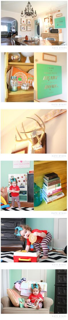 I love so much about this. Colors, furniture, and wall art.