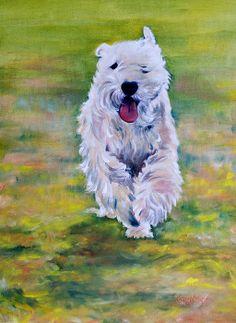 """""""Hogan"""" Wheaten Terrier Painting by Kathy Harker-Fiander"""