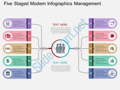 five staged modern infographics management flat powerpoint design Slide01