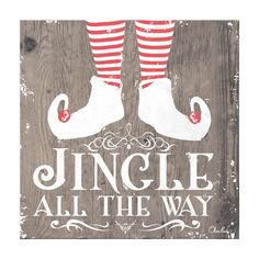 During that special time of year, add a little extra cheer to your holiday decor with decorative Christmas artwork 'Jingle all the Way.' This Shabby Chic Rustic Farmhouse Style Textual Canvas Art will complement your home this Xmas with a cozy aesthetic. Christmas Jingles, Christmas Store, Christmas Signs, Christmas Crafts, Christmas Decorations, Holiday Decor, Christmas Trends, Christmas Printables, Christmas Birthday