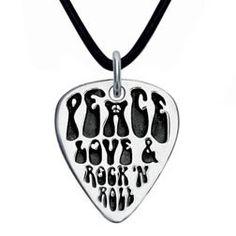 Peace, Love & Rock n Roll Sterling Silver Guitar Pick Pendant