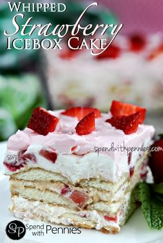 Whipped Strawberry Icebox Cake (No Bake!) Love it? Pin it to your DESSERT board to SAVE it! Follow Spend With Pennies on Pinterest for more great recipes! This is a beautiful summer dessert! During the summer months, fresh strawberries are one of my favorite treats! Nothing says summer to me like the sweet tart flavor of amazing fresh strawberries from the market or garden! This dessert is wonderfully easy and requires no baking (yay to not turning on the oven!).  {Read More}