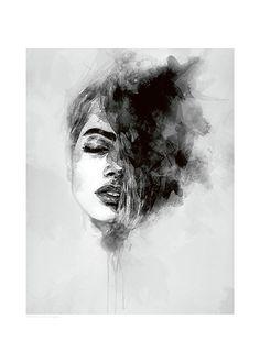 Poster mit Kunstdruck in Schwarz-Weiß.