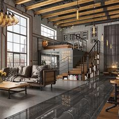 Dekoration Wohnung – Had this photo forever… I think it's by visualizer Pavel Huerta. will doubl… Had this photo forever… I think it's by visualizer Pavel Huerta. will double check. what better way to enjoy floors . Industrial House, Industrial Interiors, Modern Industrial, Rustic Modern, Kitchen Industrial, Industrial Bedroom, Vintage Modern, Rustic Chic, Industrial Loft Apartment