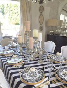 elegant black and white halloween table with white pumpkins 8