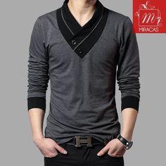 Stylish Decorated V Neck Designed Long Sleeves Slim Fit Shirt