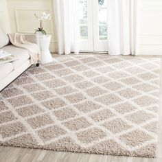 Safavieh Dallas Shag Beige/ Ivory Rug (5' 1 x 7' 6) | Overstock.com Shopping - The Best Deals on 5x8 - 6x9 Rugs